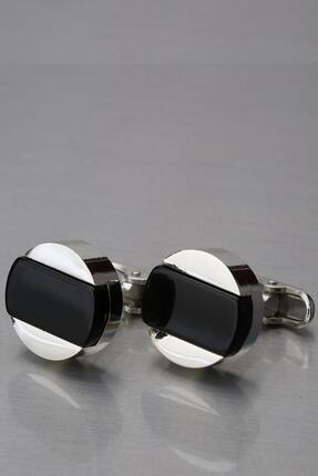 Kravatkolik Gümüş Renk Siyah Taşlı Yuvarlak Kol Düğmesi Kd1276