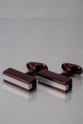 Kravatkolik Vişne Çürüğü Beyaz Taşlı Dikdörtgen Kol Düğmesi Kd1292
