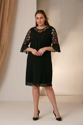 RMG Kadın Siyah Kolları Tüllü Büyük Beden Elbise