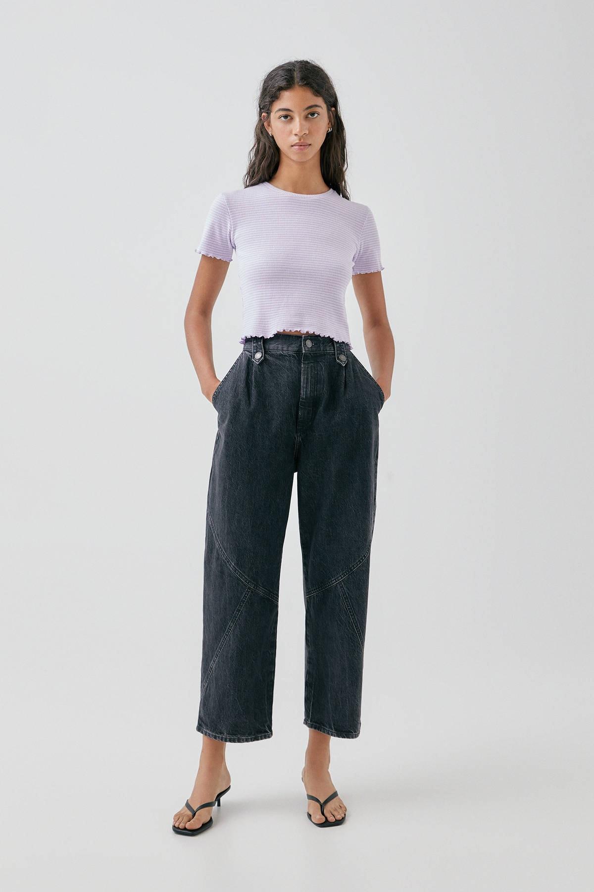 Pull & Bear Kadın Mor Kıvrımlı Kenarlı Basic T-Shirt 05234369 2