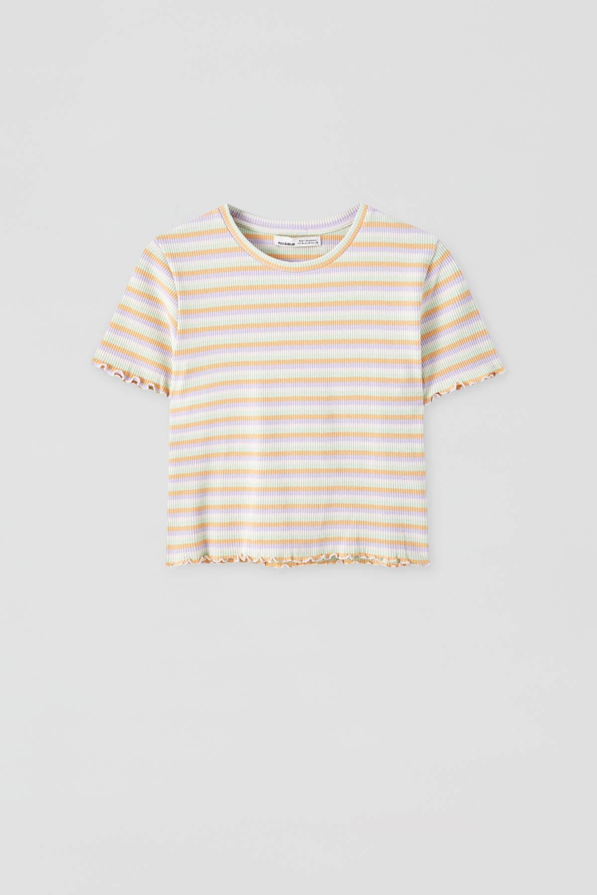 Pull & Bear Kadın Portakal Kıvrımlı Kenarlı Basic T-Shirt 05234369 1