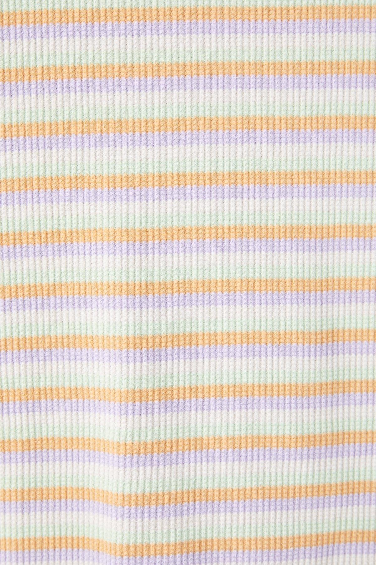 Pull & Bear Kadın Portakal Kıvrımlı Kenarlı Basic T-Shirt 05234369 2