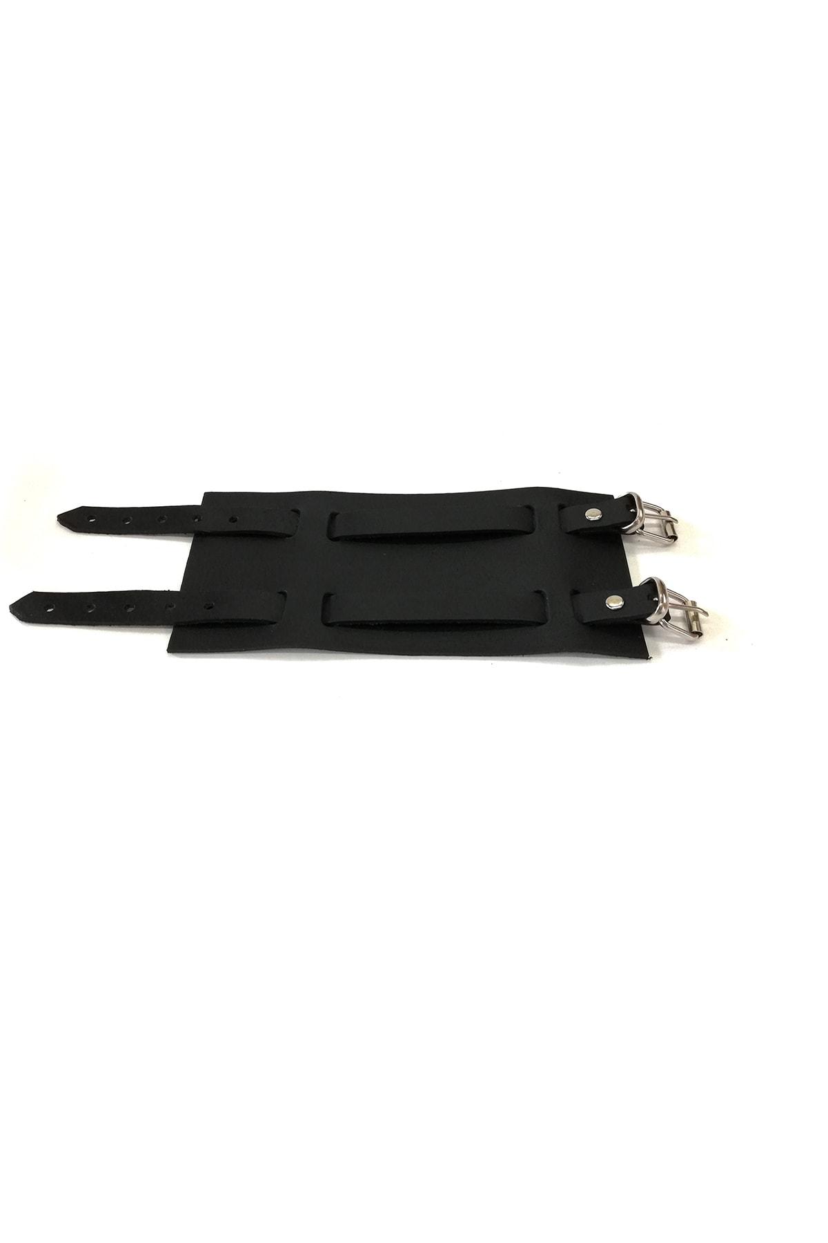 Cascades Leather Hakiki Doğal Dana Derisi Siyah Renk Geniş Osmanlı Bileklik 2