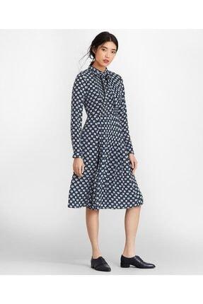 BROOKS BROTHERS Kadın Lacivert Desenli İpek Elbise