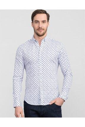 Tudors Erkek Beyaz Slim Fit Desenli Likralı Gömlek