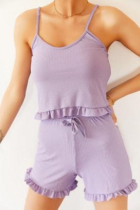 XENA Kadın Lila Askılı Fırfırlı Pijama Takımı 0YZK8-10131