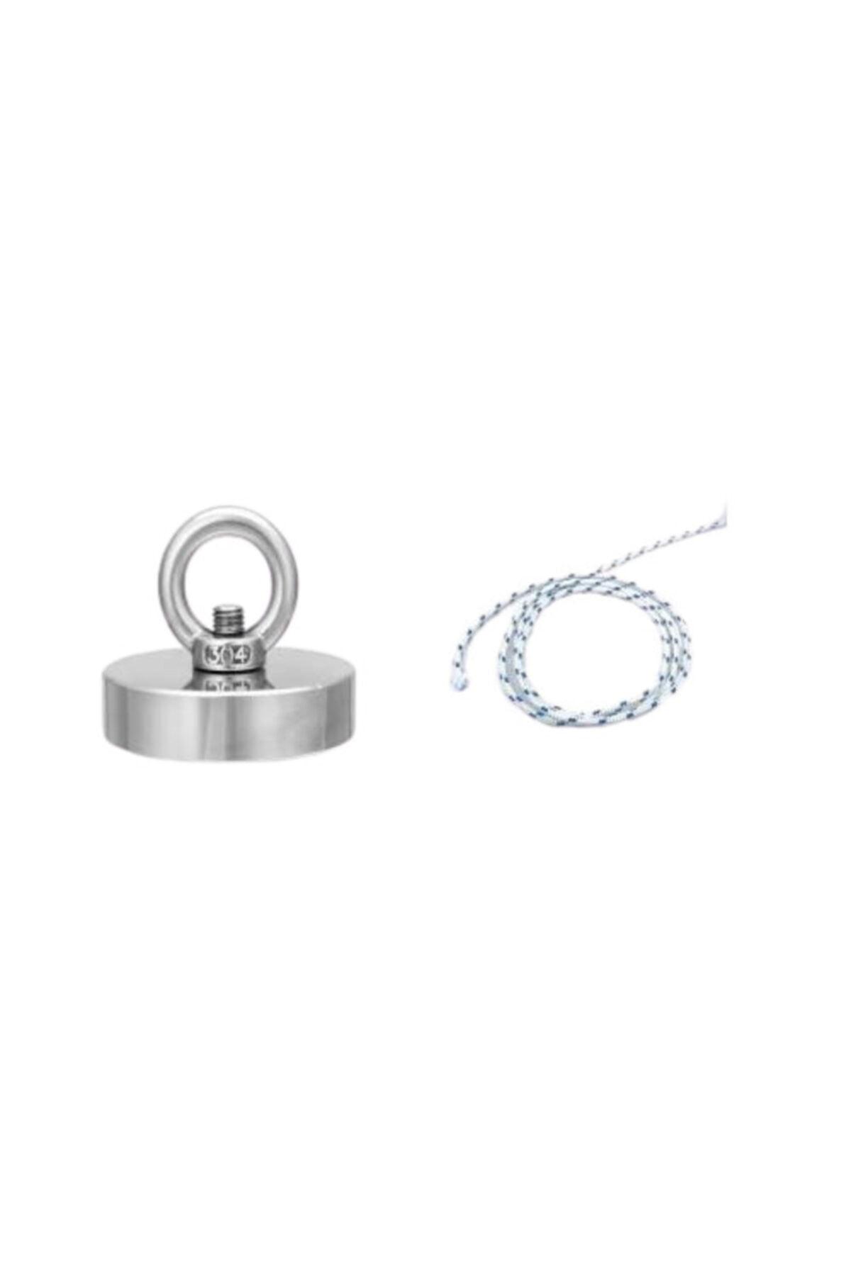 Hdg Güçlü Halkalı Neodyum Pot Mıknatıs - 42mm Çap - Kanca Kurtarma Mıknatısı Fishing Magnet + 25 m Halat 1