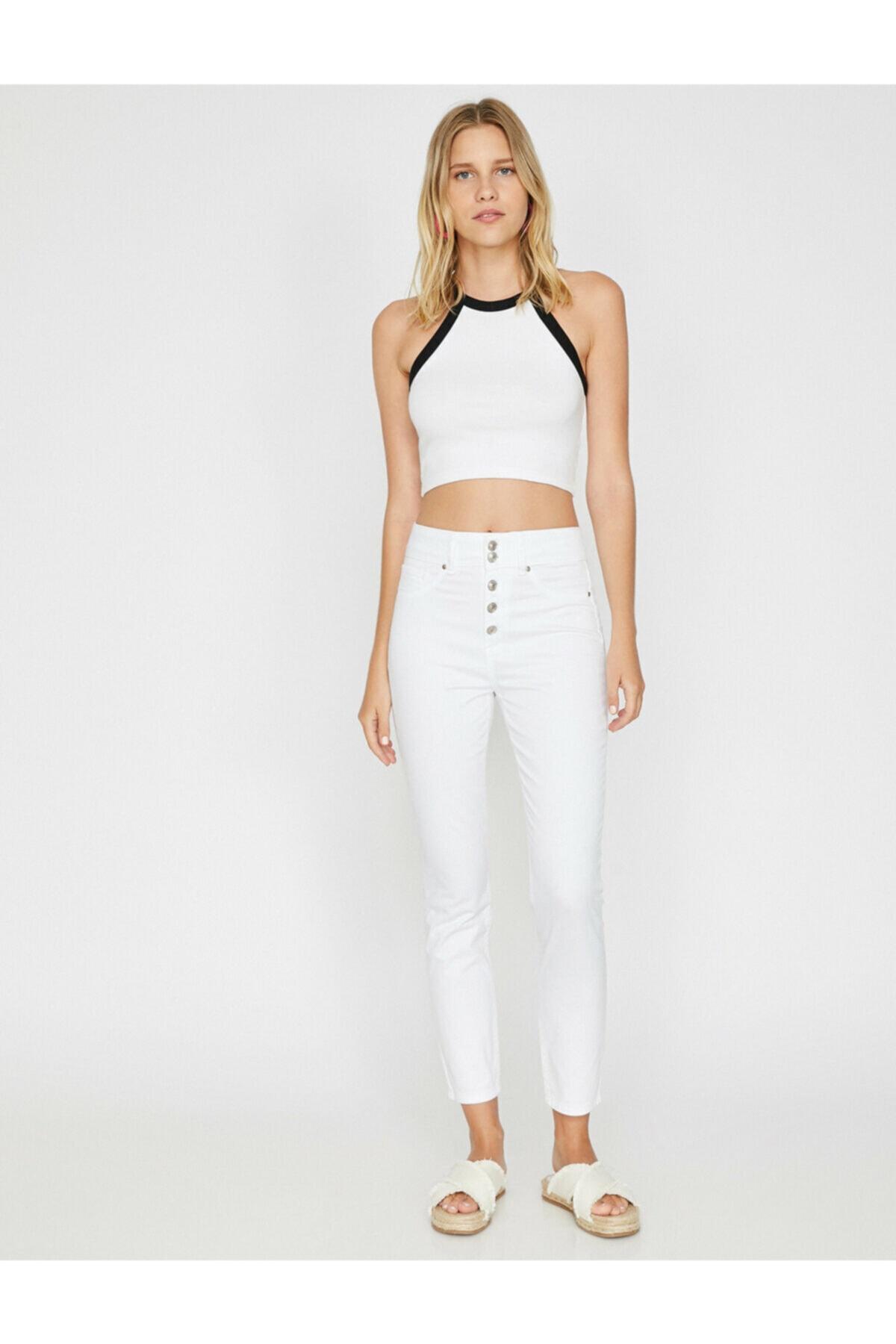 Koton Kadın Beyaz Pantolon 9YAK43683MW 2
