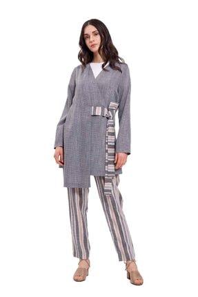 Mizalle Kadın Gri  Çizgi Bağlamalı Kimono