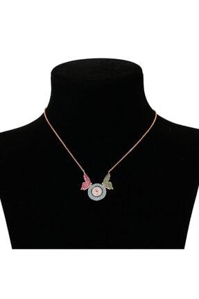 Arus Kadın Mays Çelik Kolye Renkli Kelebek Model Zikron Taşlı