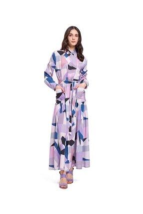 Mizalle Mızalle Dijital Baskılı Cepli Elbise (lila)