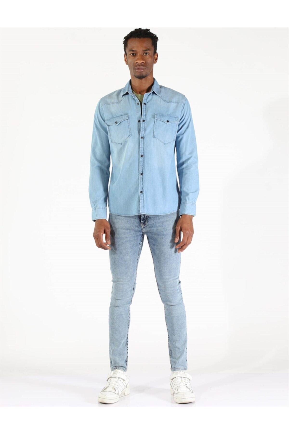 Twister Jeans Twıster Jeans 1704-09 Erkek Çıtçıtlı Çift Cepli Kot Gömlek 1