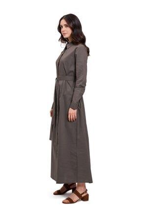 Mizalle Kadın Poplin Maxi Gömlek Elbise (haki)