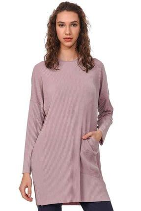 Mizalle Kadın Pudra Piliseli Sandy Cep Detaylı Bluz 19YGMZL1012017