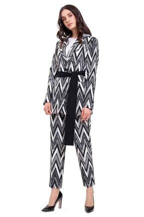 Mizalle Kadın Zikzak Jakarlı Ceket (siyah)