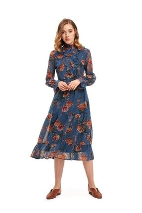 Mizalle Kadın Önü Fırfırlı Çiçekli Elbise (mavi)