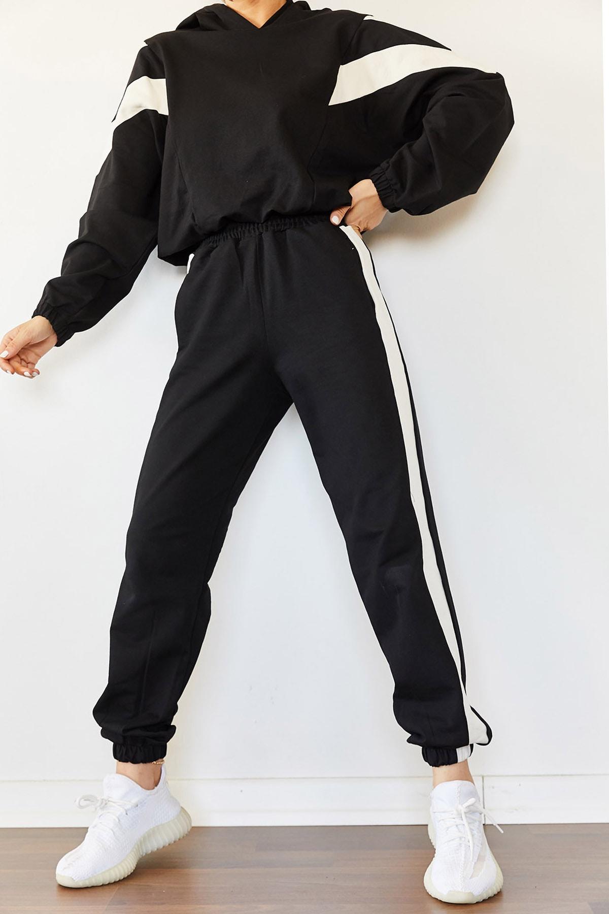 XENA Kadın Siyah Parçalı Eşofman Takımı 0YZK8-10315 1