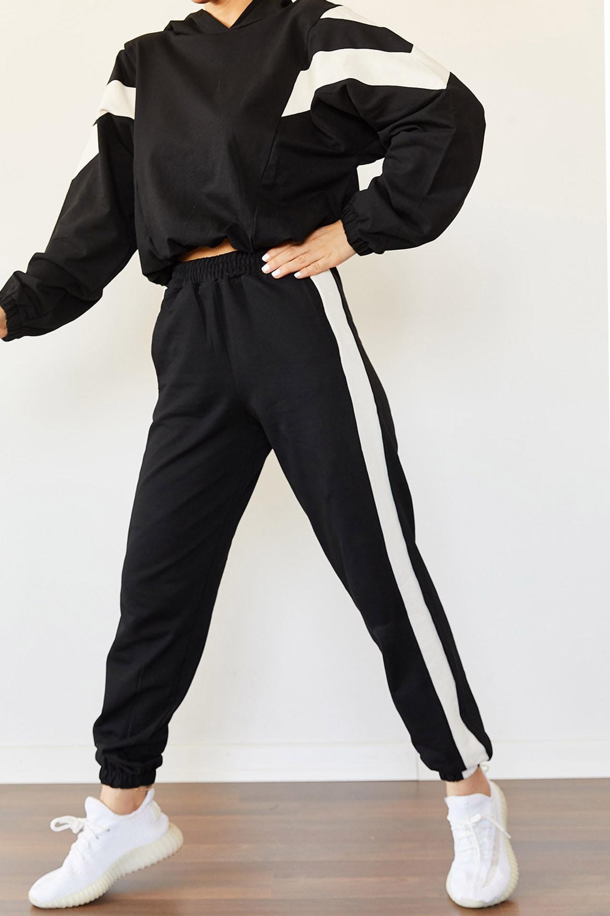 XENA Kadın Siyah Parçalı Eşofman Takımı 0YZK8-10315 2