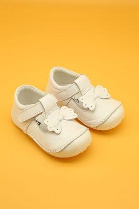 Db Kids Hakiki Deri Ortopedik İlk Adım Bebek Ayakkabısı Beyaz B109