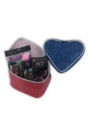 TNR Sevgililer Günü 13 Parça Set Mavi Çantalı Makyaj Çantası