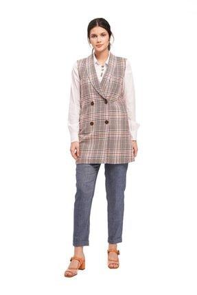 Mizalle Kadın Safran Ekose Desenli Yelek  Ceket