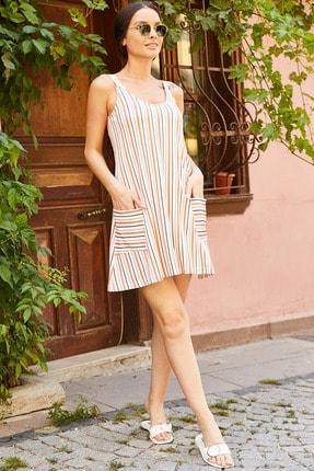 armonika Kadın Turuncu Çizgili Askılı Elbise Arm-20Y001095