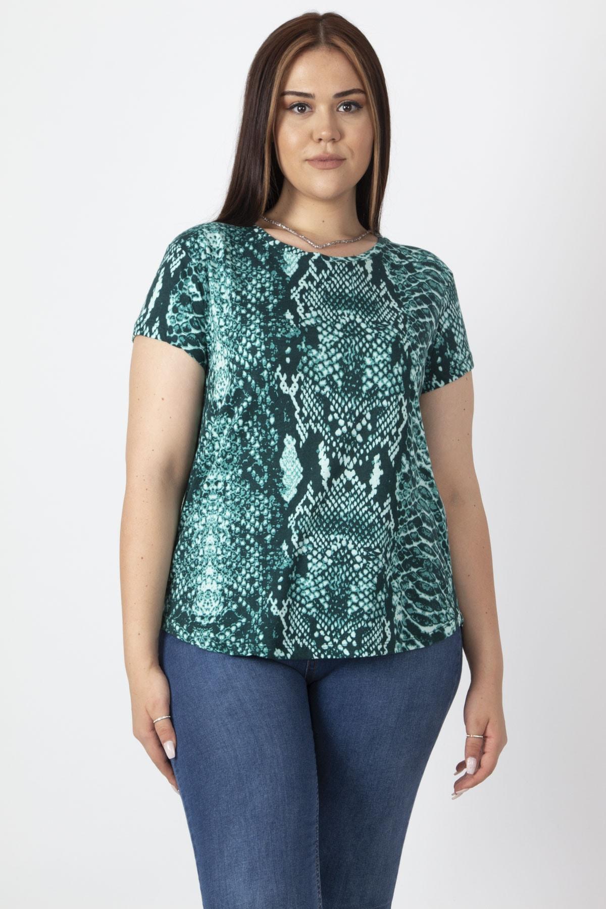 Şans Kadın Yeşil Bisiklet Yakalı Basic Desenli Tişört 65N16888 1