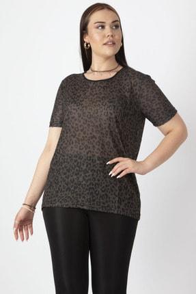 Şans Kadın Haki Taş Detaylı İnce Flok Desenli Bluz 65N16981