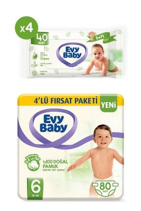 Evy Baby Bebek Bezi 6 Beden Xl 80 Adet Ve 4 Paket Islak Havlu