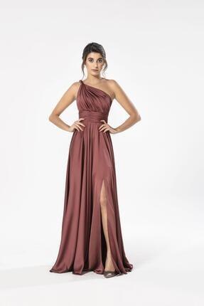MAXXE Kadın Tarçın Helen Tek Omuz Saten Elbise 4923ST