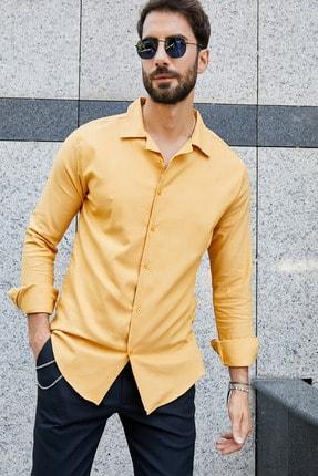 Sateen Men Erkek Safran Apaç Yaka Gömlek