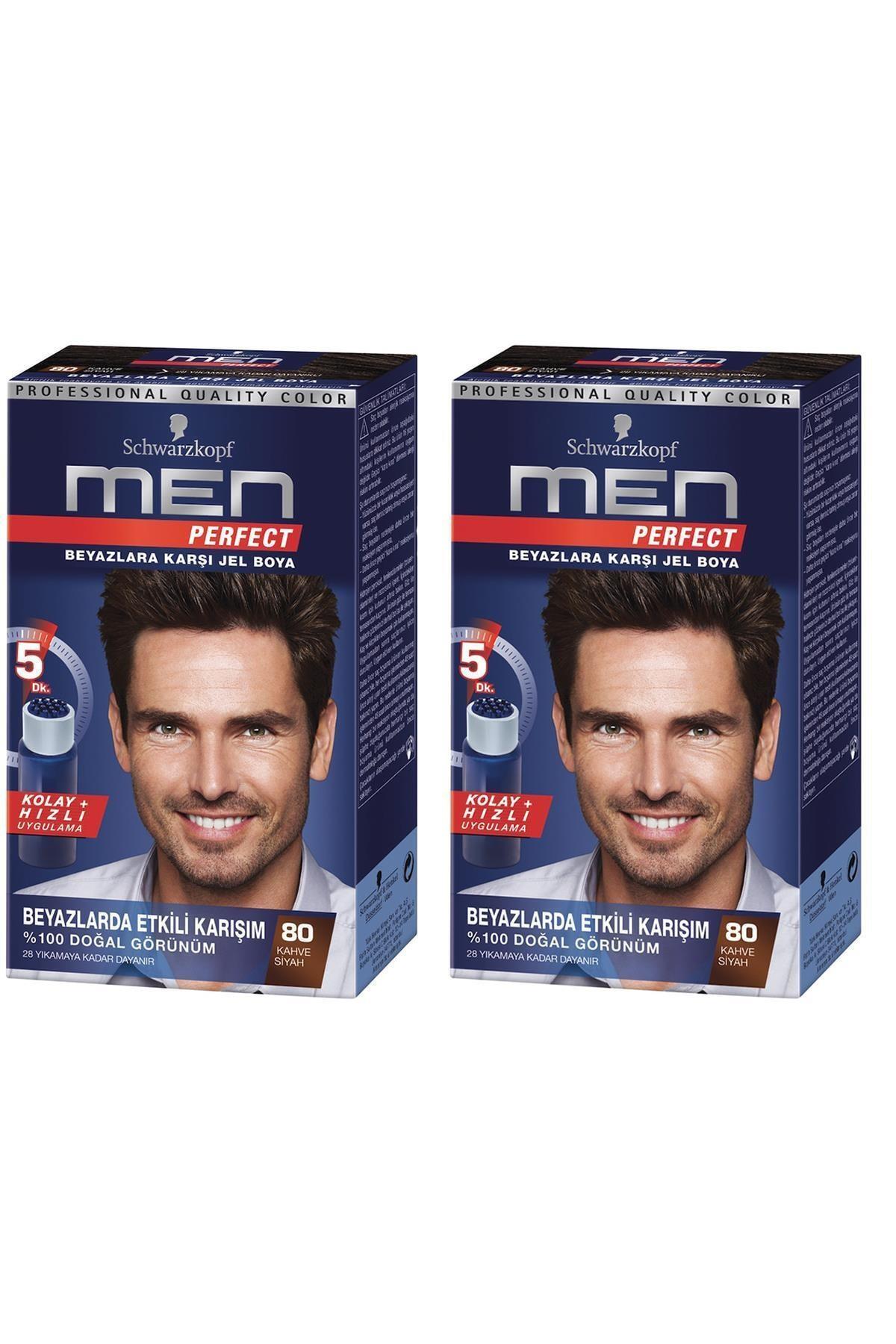 SCHWARZKOPF HAIR MASCARA Perfect Men 80 Siyah Kahve Saç Boyası x 2 adet 1