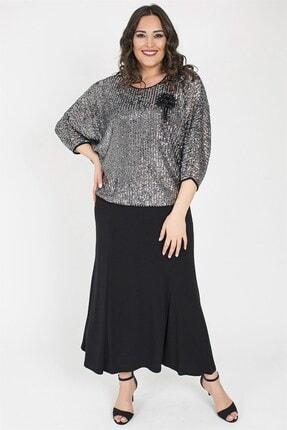 Ladies First Kadın Gümüş Uzun Abiye Elbiseli Takım