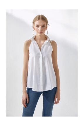 Urban Muse Halter Yaka Beyaz Gömlek