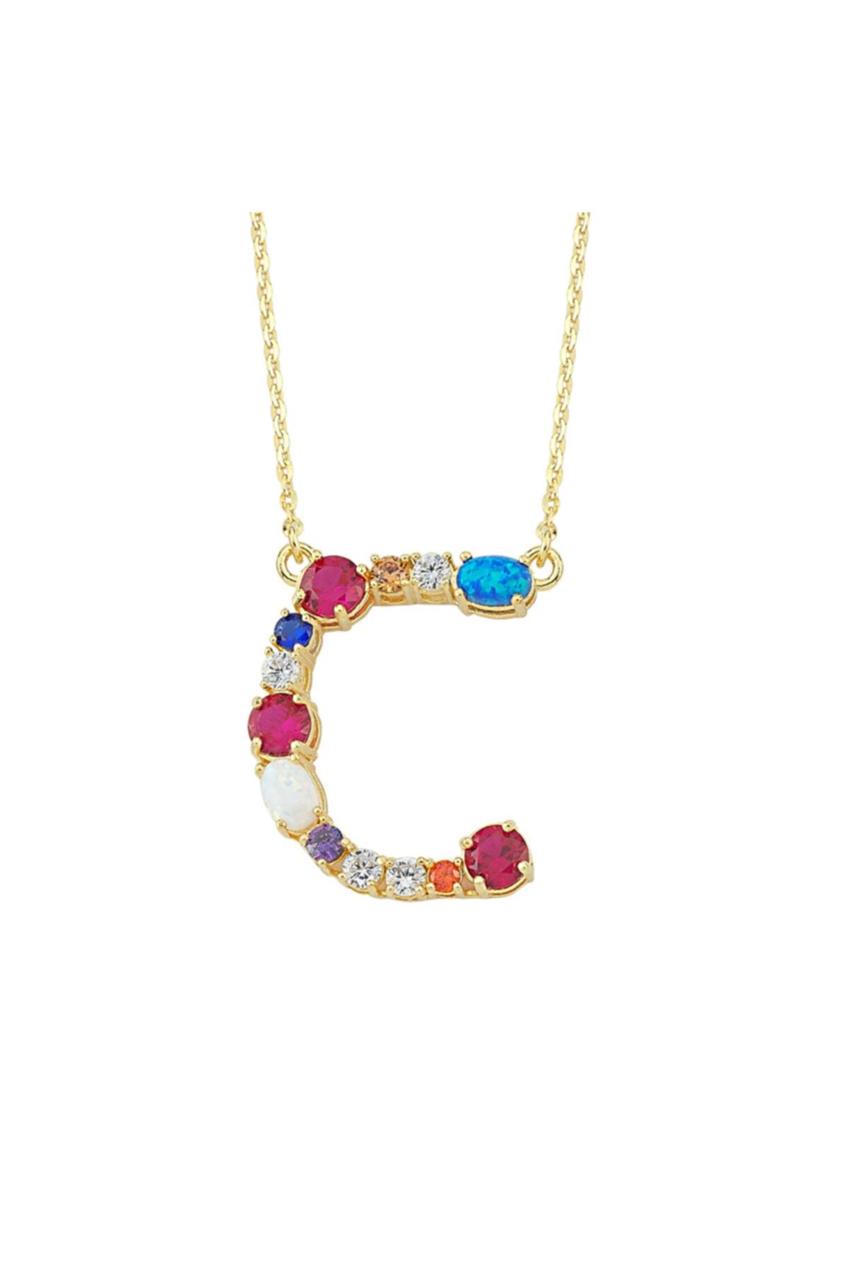 Luzdemia Kadın Çok Renkli Opal Initial C Harfi Kolye 1