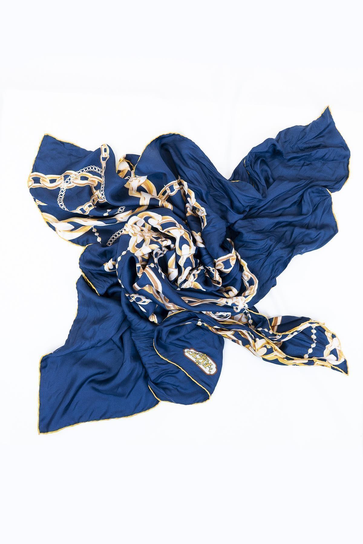 GİZİA Kadın Mavi Desenli Eşarp 8v006 1
