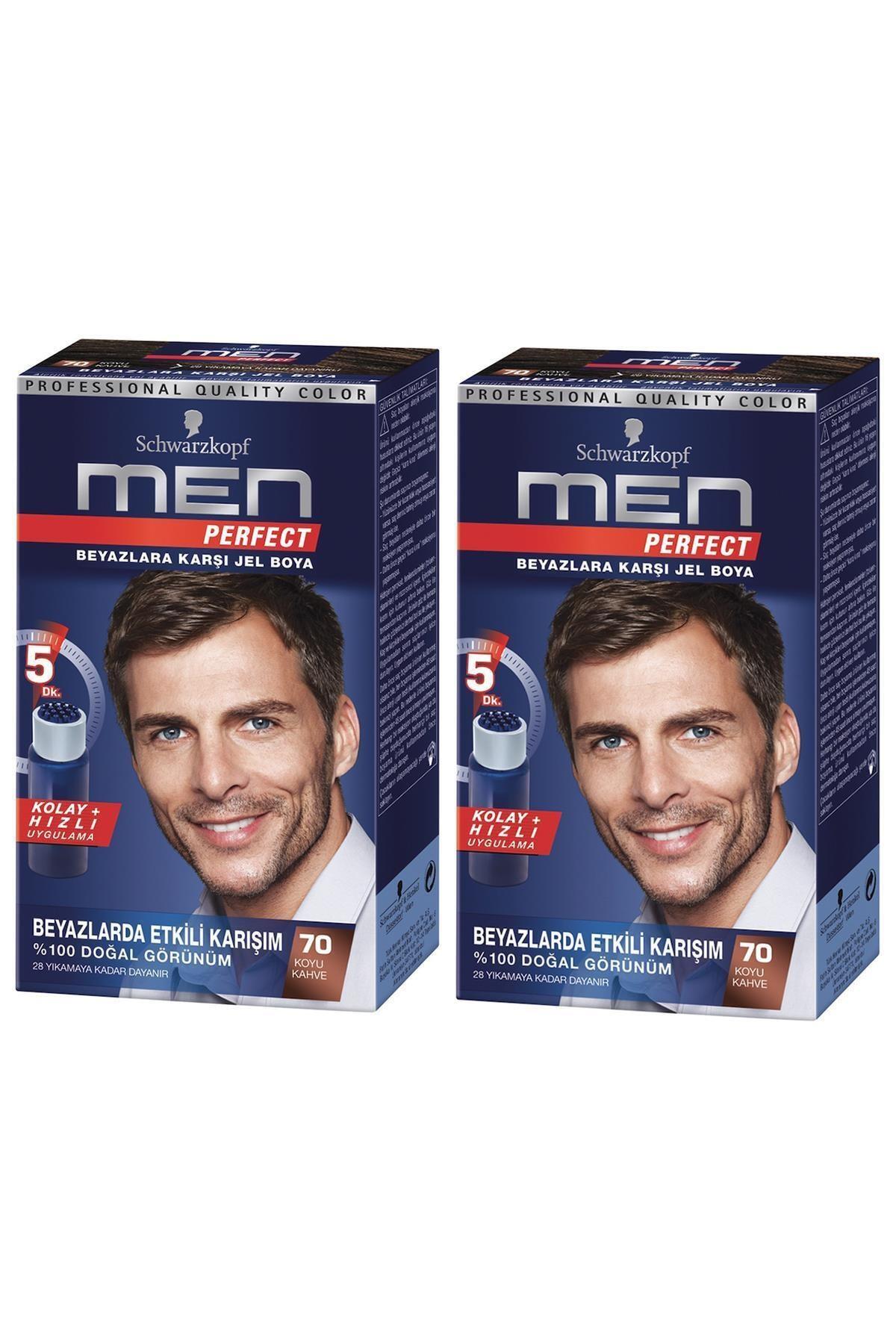 SCHWARZKOPF HAIR MASCARA Perfect Men 70 Koyu Kahve Saç Boyası X 2 Adet 1