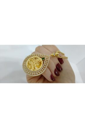 Sosyete Takıcısı Altın Kaplama Trend Osmanlı Tugralı 60 cm Zincirli Yeşil Taşlı Zirkon Kolye