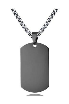 Chavin Büyük Siyah Dogtag Asker Künyesi Çelik Kolye ds68sy