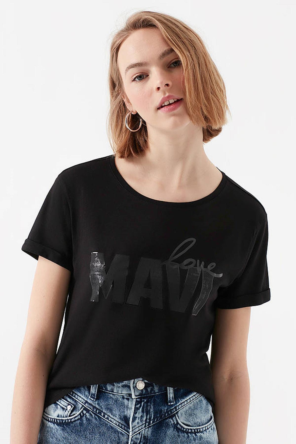 Mavi Kadın Love Baskılı Siyah T-Shirt 167706-900 2