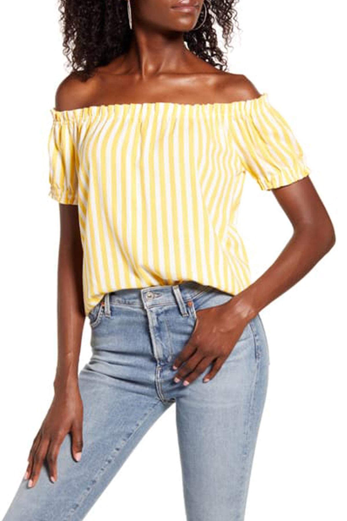 Vero Moda Kadın Sarı Carmen Yaka Çizgili Bluz 10228973 VMHELENMILO 1