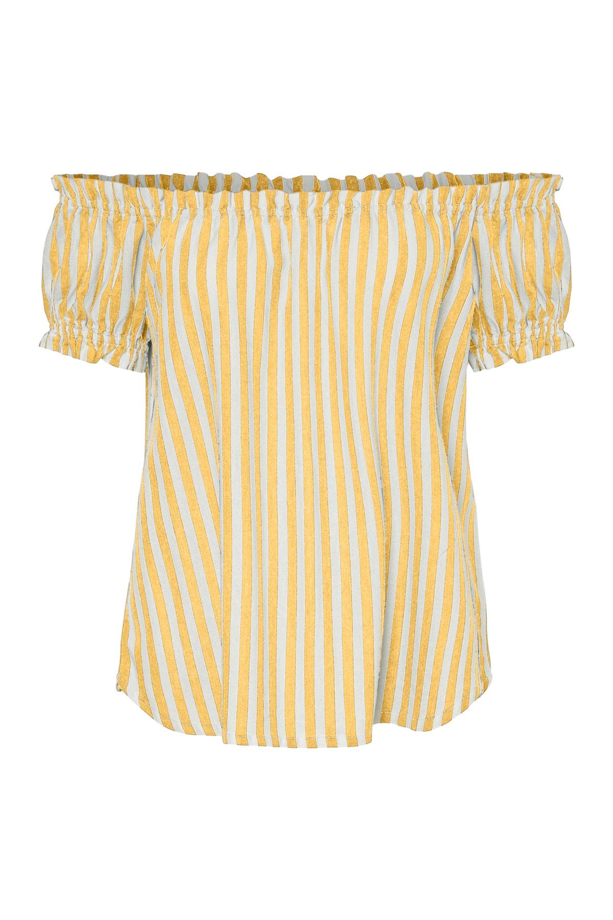 Vero Moda Kadın Sarı Carmen Yaka Çizgili Bluz 10228973 VMHELENMILO 2
