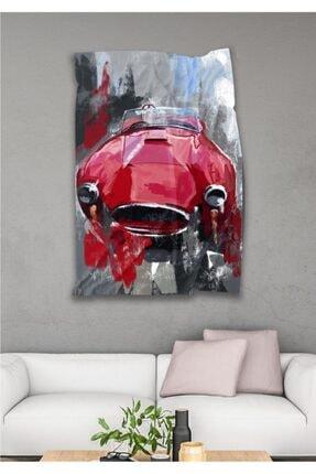 Hediyeler Kapında Kırmızı Araba Dekoratif Duvar Örtüsü 110 X 150