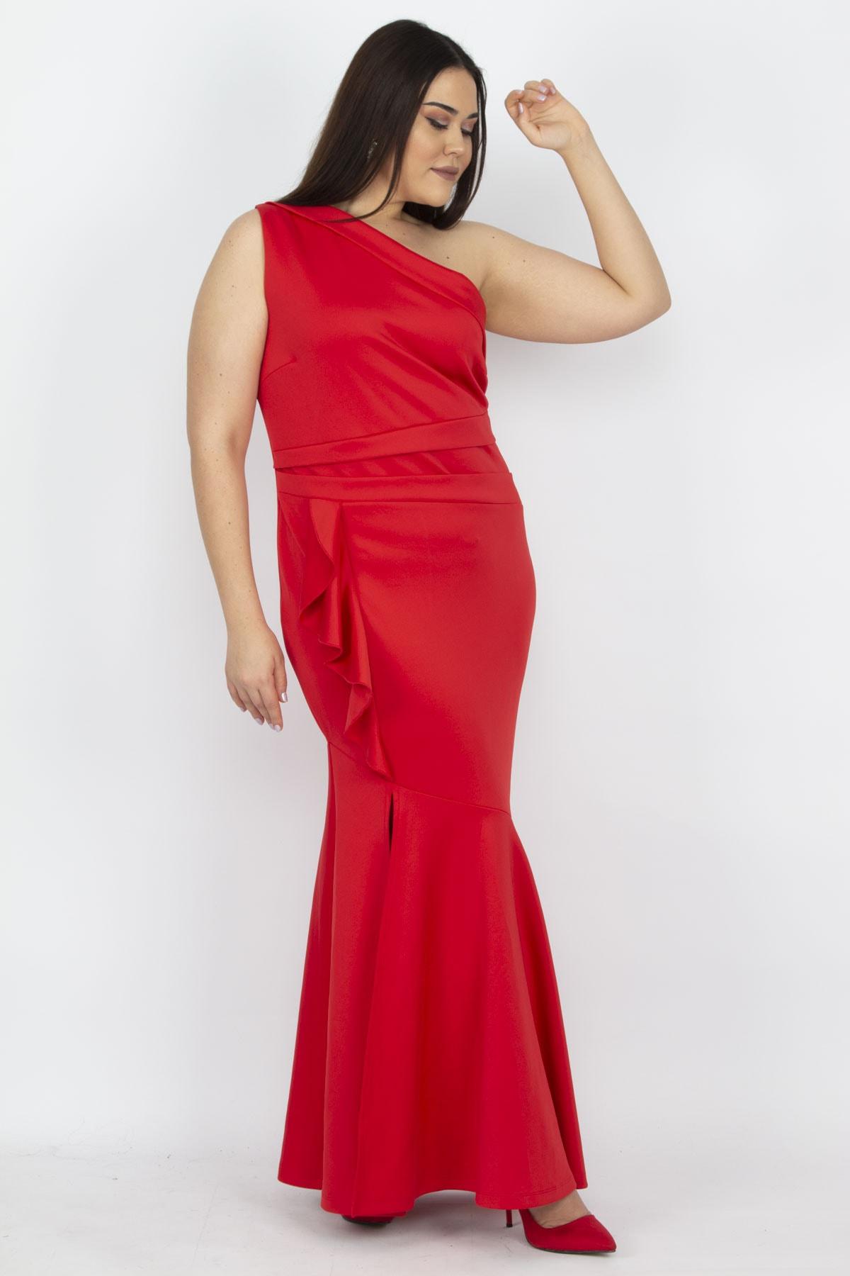 Şans Kadın Tek Omuz Yırtmaçlı Abiye Elbise 26A13977Kırmızı