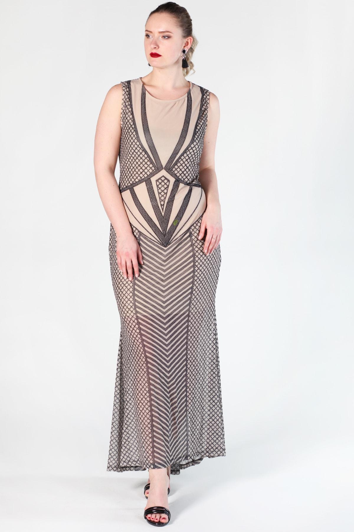 Şans Kadın Bej Taş İşlemeli Şifon Abiye Elbise 26A10577Bej