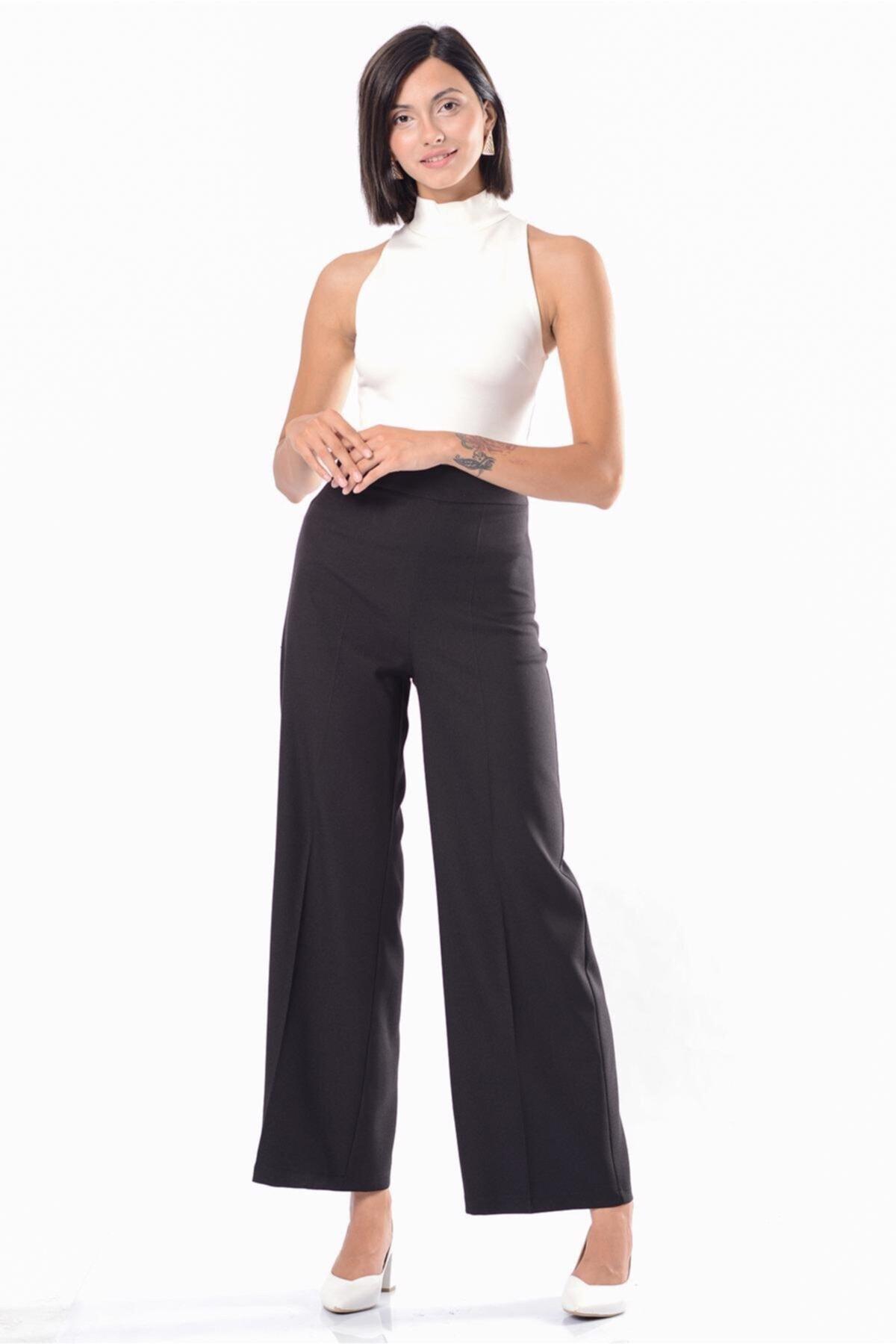 İroni Kadın Siyah Geniş Paça Pantolon H31735-1220 1