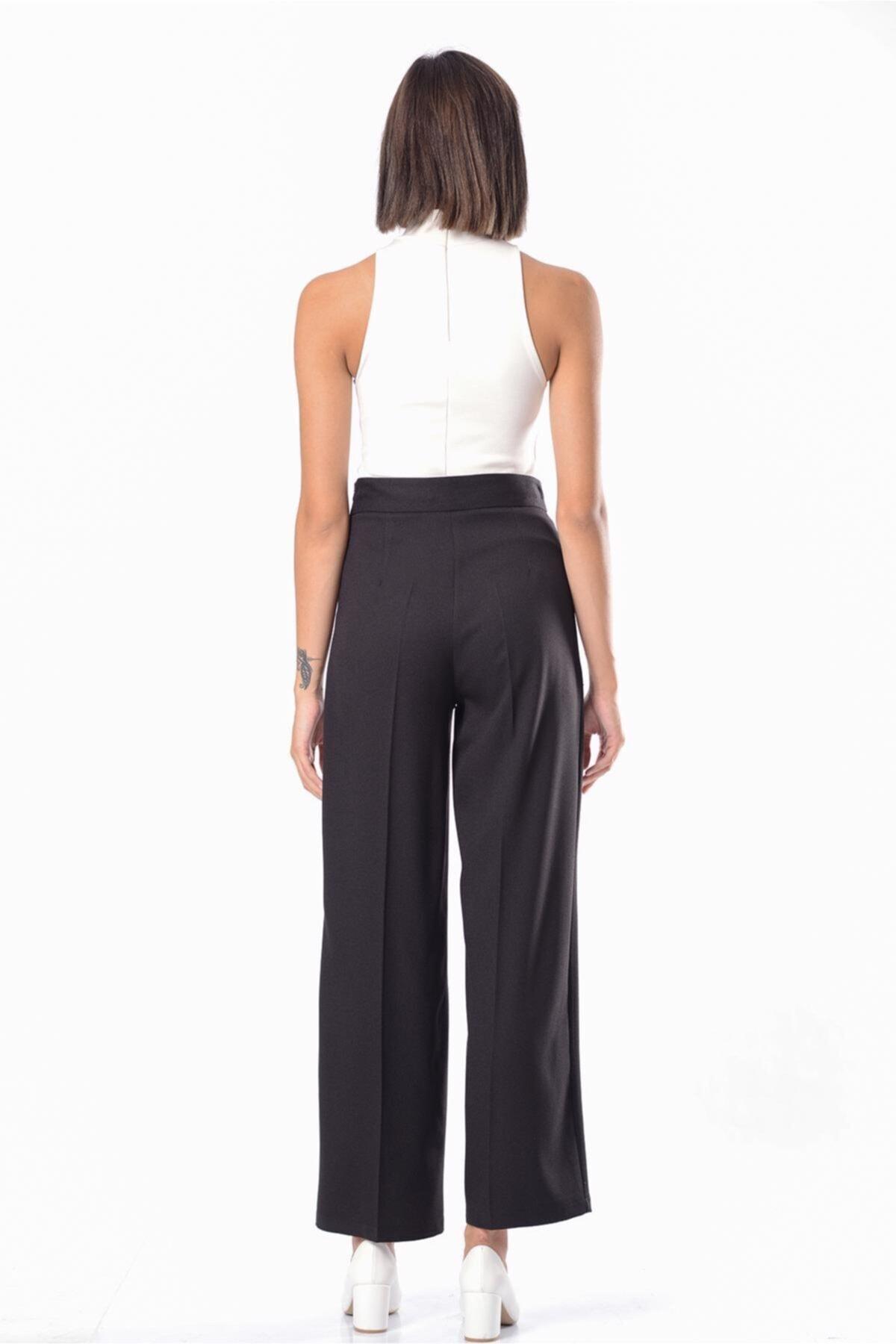 İroni Kadın Siyah Geniş Paça Pantolon H31735-1220 2
