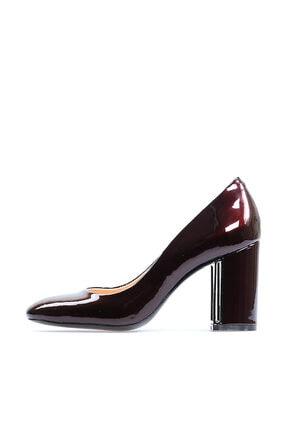 Flower Hakiki Deri Bordo Kalın Topuklu Kadın Ayakkabı