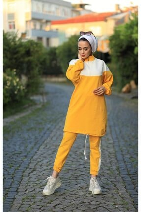 Stilin Bizde Kadın Sarı Tesettür Eşorfman Takım