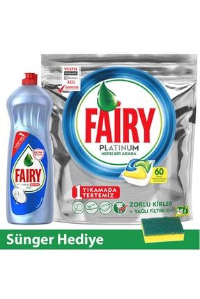 Fairy Platinum Tablet 60 lı + Fairy Platinum 1000 ml (Sünger Hed